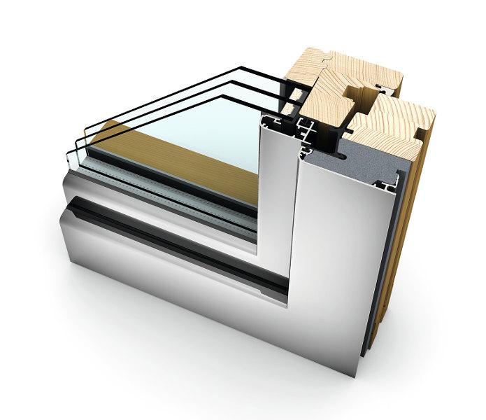 infissi alluminio legno finestra internorm HF210