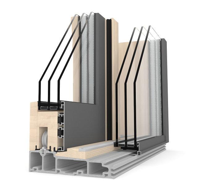 infissi alluminio legno finestre scorrevole internorm HS 330